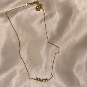 "Kate Spade gold ""MRS"" necklace"